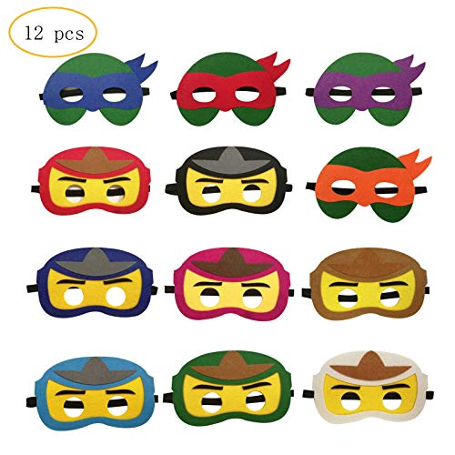 12PCS Ninja Ninjago Felt Masks for Kids Super hero Birthday Party Supplies -