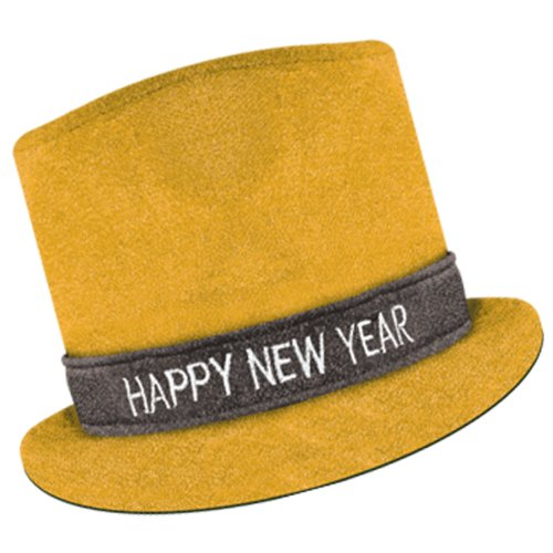 Hat Year Top New Happy (Beistle 80703-GD Gold Glitz 'N Sparkle Happy New Year Top Hat, 1 Per Package)