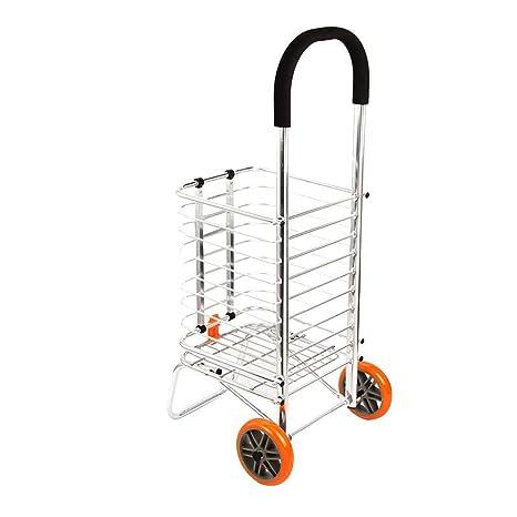 SXRNN 2 Ruedas Carrito de Compra Plegable Trolley Carro MultifuncióN De AleacióN De Aluminio Compra En