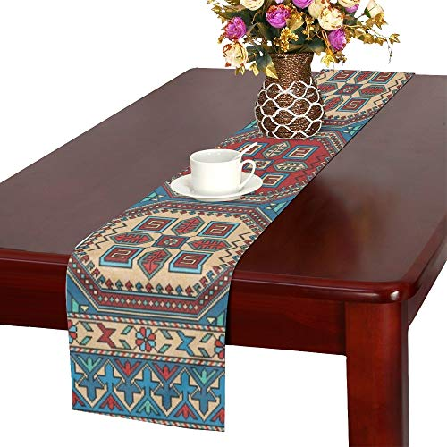 WHIOFE Colorful Oriental Mosaic Kazak Rug Traditional Table Runner, Kitchen Dining Table Runner 16 X 72 Inch for Dinner Parties, Events, Decor