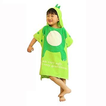 toalla de baño para niños Capa 100% algodón Dinosaurio con Capucha Toalla Albornoz Bebé Capa de Playa Verde 60 * 60 CM: Amazon.es: Hogar