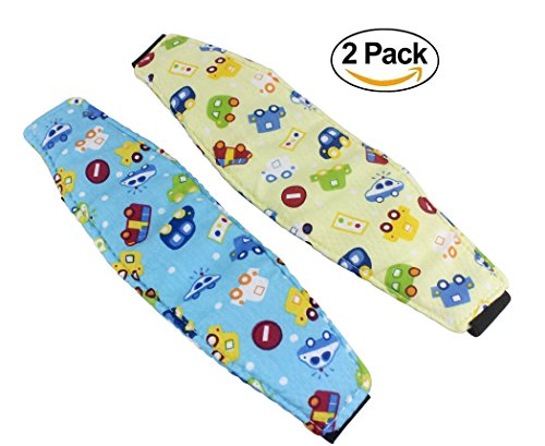 Hillento Baby Kids Car Seat Neck Relief Head Support Band with Adjustable Belt, Offers Protection and Safety for Kids, Blue Car and Yellow Car