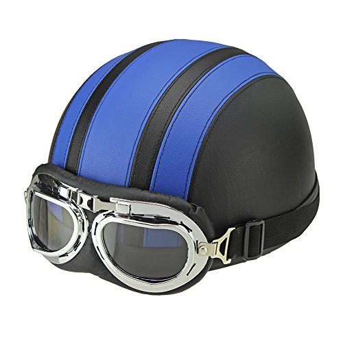 Half Helmet for Motorcycle Scooter Biker with Visor UV Goggles Glasses Scarf Fits Men Women - Plaid Helmet