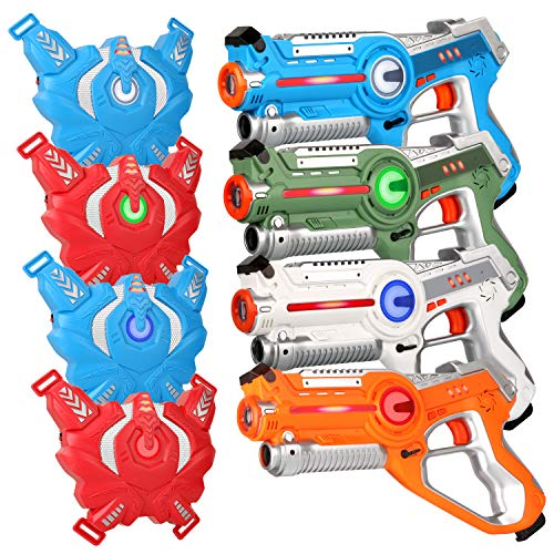 Laser Tag Guns Sets, Super Joy Infrared Laser Tag Sets with 4 Guns and 4 Vests, Laser Tag Gun Toys Indoor Outdoor Game for Boys Girls