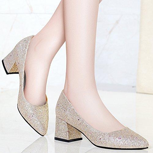 kphy-5cm High Heels mit feinen Schuhe Spring New Design Single Schuhe Spitz Schuhe Braut Gun color