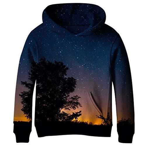 Fleece Screen Print Sweatshirt - SAYM Teen Boys' Galaxy Fleece Sweatshirts Pocket Pullover Hoodies 4-16Y NO12 XS