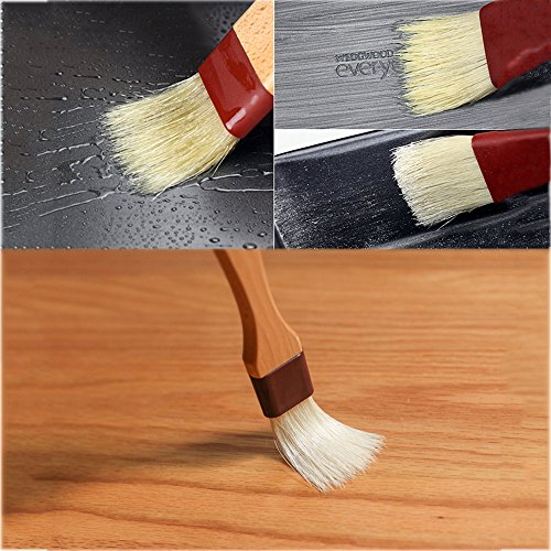 Pastry Brush Natural Bristle Wooden, MSART Basting/Food Brush, with Beech Wood Handle and Rope Hook, Great for Butter, Cookies, Oil, Bread, Frosting. Easy to Clean (1 inch & 1.5 inch set) by MSART (Image #2)