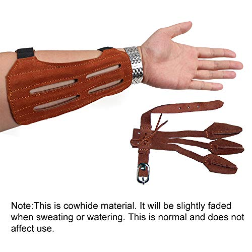 TOPARCHERY Leather 2 Straps Arm Guard & 3 Finger Protective Gloves
