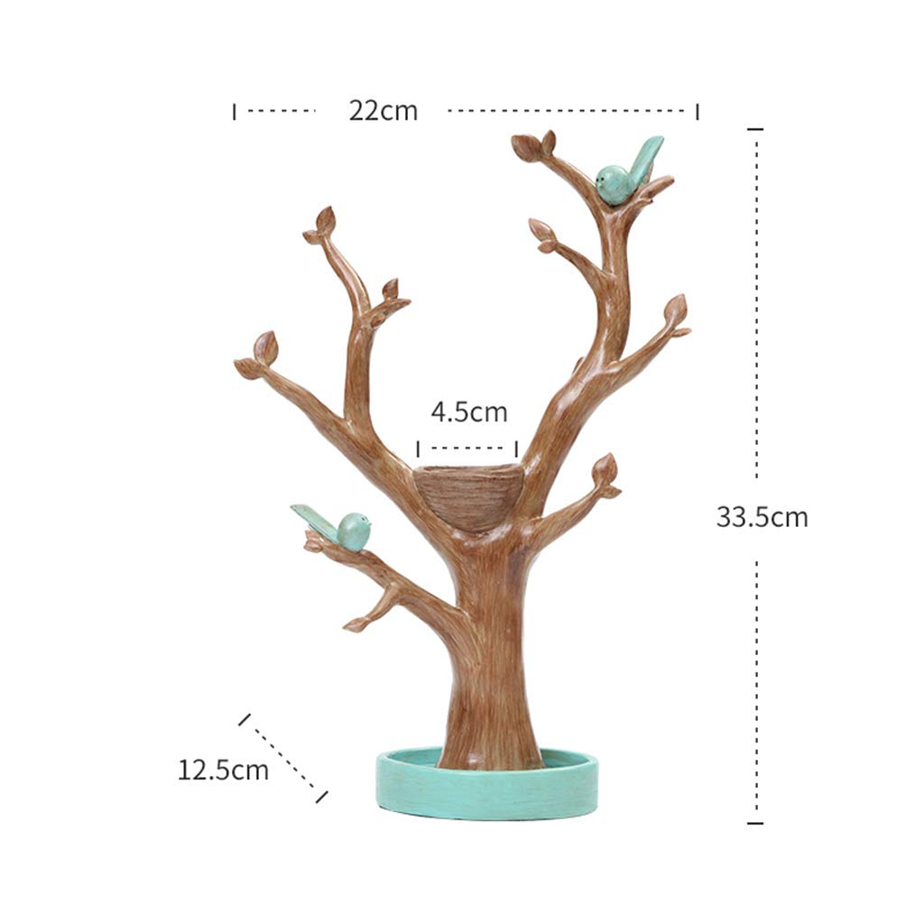 Jewelry Rack-Resin Twig Bird Jewelry Frame Decoration Bedroom Home Decoration Creative Hall Key Storage Decoration Gift 2212.533.5 (Color : A)