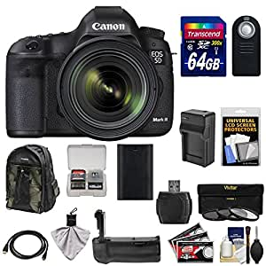 Canon EOS 5D Mark III Digital SLR Camera with EF 24-70mm f/4.0L IS USM Lens with 64GB Card + Backpack + Grip + Battery & Charger + 3 Filter Kit