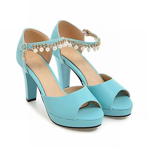 MissSaSa Damen high heel ankle-Strap peep toe Pumps mit künstlich Perlen Blau(Leder)