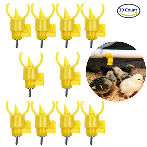 AKOAK 10 Pieces Poultry Water Nipples Drinker Feeders ,Sanitary Water for up to 30 Chickens,Turkeys,Geese or Ducks (Easy Fill Drinker)