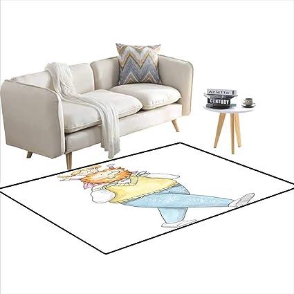Amazon.com: Girls Bedroom Rug Watercolor Man wi Little ...