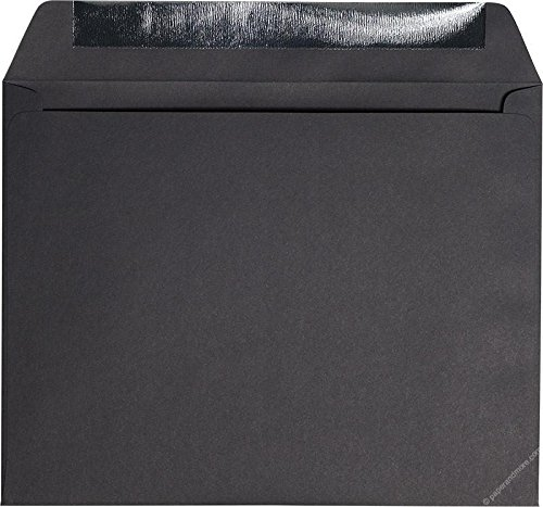 9'' x 11 1/2'' Booklet Black Solid Envelopes - 25 Envelopes from Paper and More