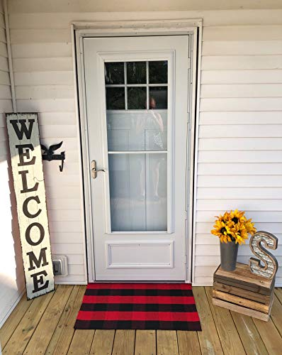 Buffalo Plaid Rug - Black and Red Check Door Mat Outdoor - Farmhouse Rugs for Kitchen/Bathroom/Front Porch/Decor - Layered Welcome Doormats - Checkered Flannel Cotton Entry Way Layering Mats 24