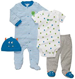 Carter\'s 4-Piece Layette Set - Turquoise Monster- 6 Months