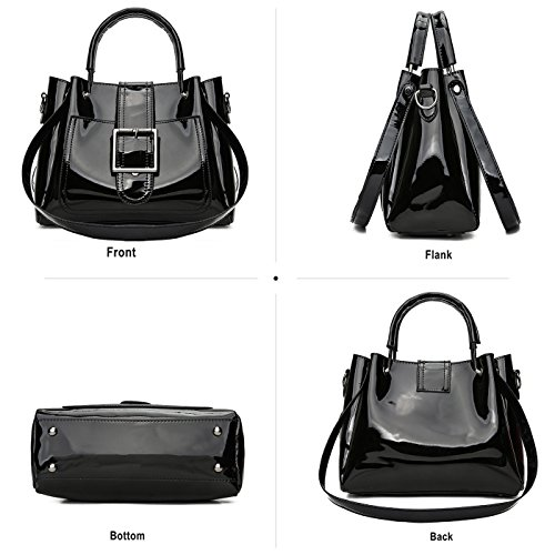 Bag Set Women's Black Chain Handbag Shiny for Shoulder Tisdaini Ladies Leather Black Crossbody Patent Bag qFvAnxdwZ