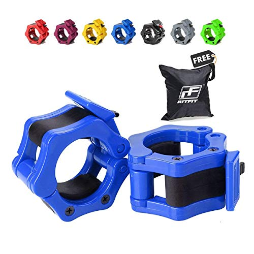 RitFit Pair of 2 Inch Pro Olympic Barbell ABS Locking with Quick Release Black Secure Snap Latch for 2-Inch Diameter Size Olympic Bars Set of 2 Clamps (Blue)(Free Bag !!!)
