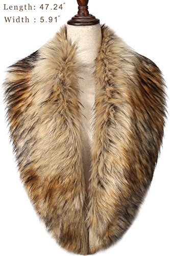BABEYOND Women's Faux Fake Fur Collar Shawl Faux Fur Scarf Wrap for Winter Coat 1920s Flapper Outfit (Taupe)