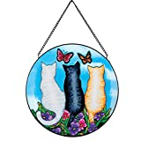 Collections Etc Cat Trio in Garden Colorful Glass Suncatcher