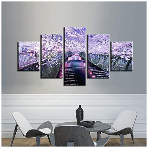 guyuell Soggiorno HD Stampa Immagini Home Decor Poster 5 Pezzi Pezzi Riverside Cherry Blossoms Night View Modern Wall Art Painting-30CMx40/60/80CM,with Frame
