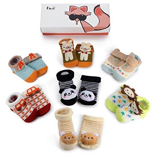 Haley Clothes Newborn Baby Gift Socks Toddler Boys Anti-Slip Non-Skid Socks (7 Pairs/Box Baby Boys Socks Gift Set)