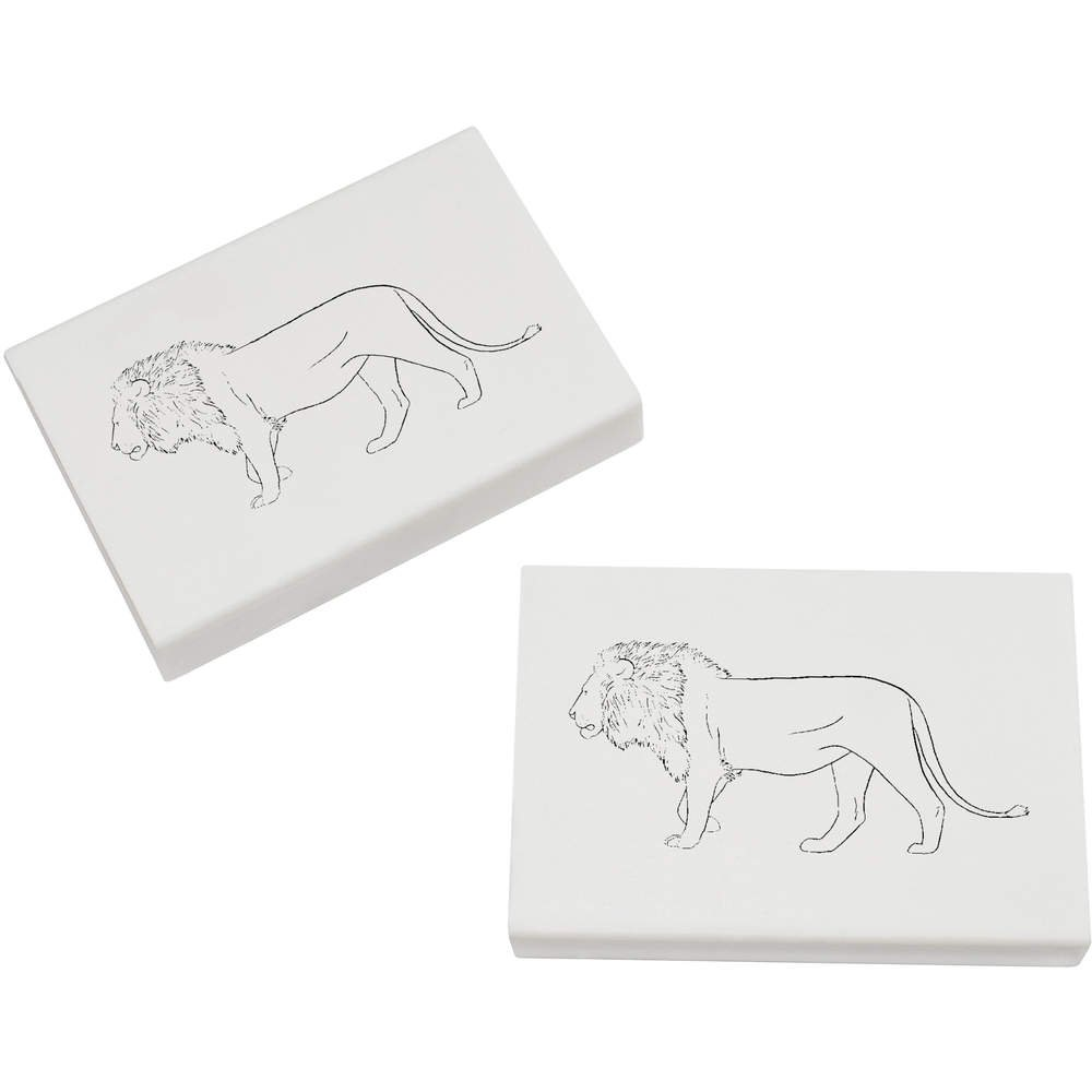 Basteln, Malen & Nähen ER00019025 Azeeda 2 x 45mm Löwe Radiergummis
