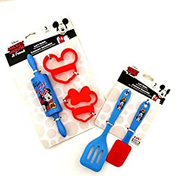 Disney Mickey Mouse & Minnie Mouse Cookie Cutter Kids Cooking Set Bundle (5 Items)