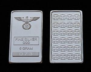 Eisernes Kreuz 5 Gramm Silberbarren Barren 999 Silber Silver * Iron Cross *...