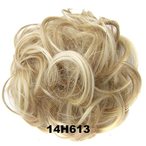Light Blonde Hair Wig - PrettyWit Hairpieces Short Curly Hair Extension Messy Hair Bun Updo Donut Hair Chignons Hair Piece Wig Scrunchy Bridal-Light Ash Brown & Bleach Blonde 14H613