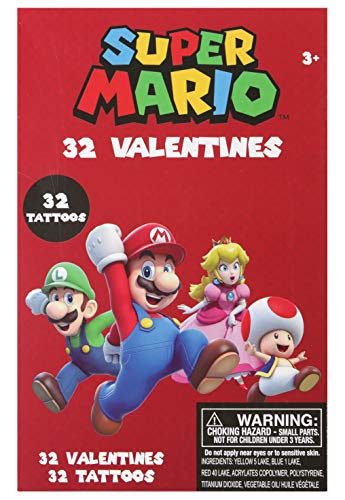 Tattoo Valentines Cards (32 Mario Valentines Cards and 32 Tattoos)