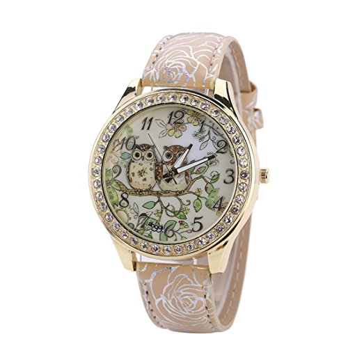 DaySeventh Male Female Universal Double Owl Printing Couple Lover Sweetheart Valentine's Day Models Quartz Watch - C.x.q Sunglasses