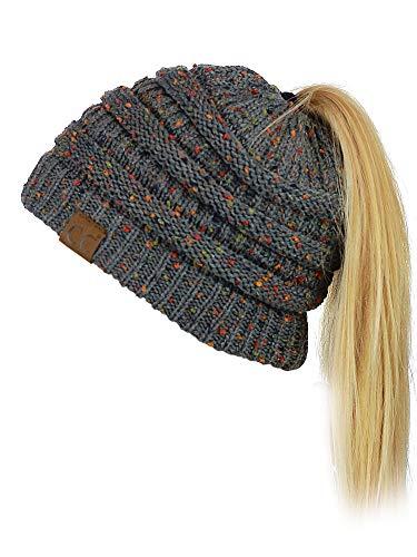 C.C BeanieTail Soft Stretch Cable Knit Messy High Bun Ponytail Beanie Hat, Confetti Dark Melange Gray
