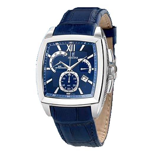 Festina F6759 _ 2 - Reloj de pulsera de hombre, correa de piel color azul: Amazon.es: Relojes
