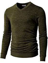 Mens Slim Fit Basic Knitted Longsleeve V-Neck Pullover Sweaters