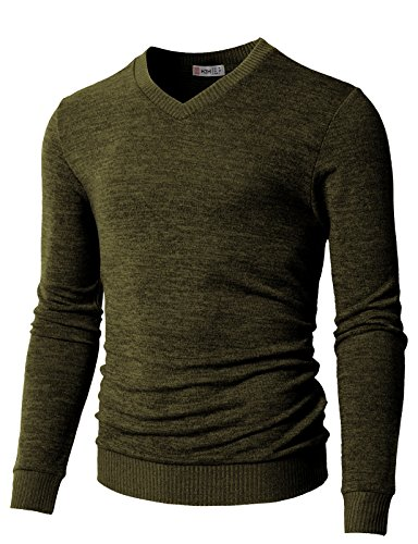 H2H Men's V-Neck Merino Wool Sweater Olive US L/Asia XL (CMOSWL018)