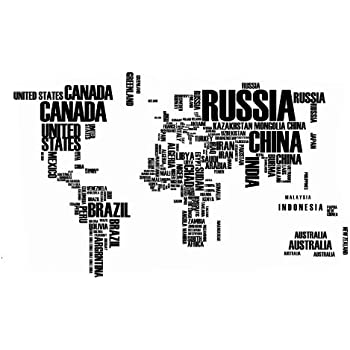 Amazoncom World Map in Country Names Vinyl Wall Decal for Living