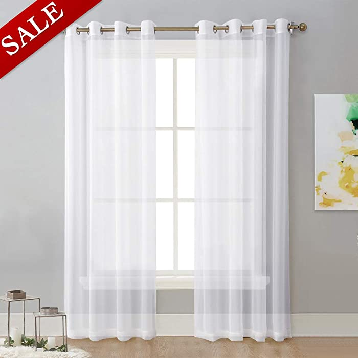 NICETOWN Sheer Curtain Panels Bedroom - Home Decoration Solid Voile Panels with Ring Top (2-Pack, 54 Wide x 84 inches Long, White)