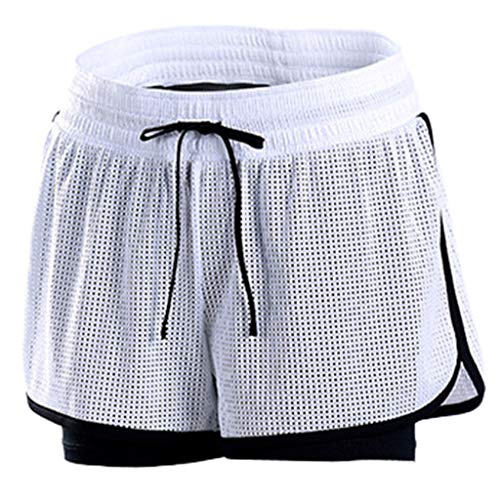 TOTOD Shorts Sale 2019 New Women's Sport Anti-Emptied Short Pants Mesh Breathable for Gym Outdoor Fitness Athletic White