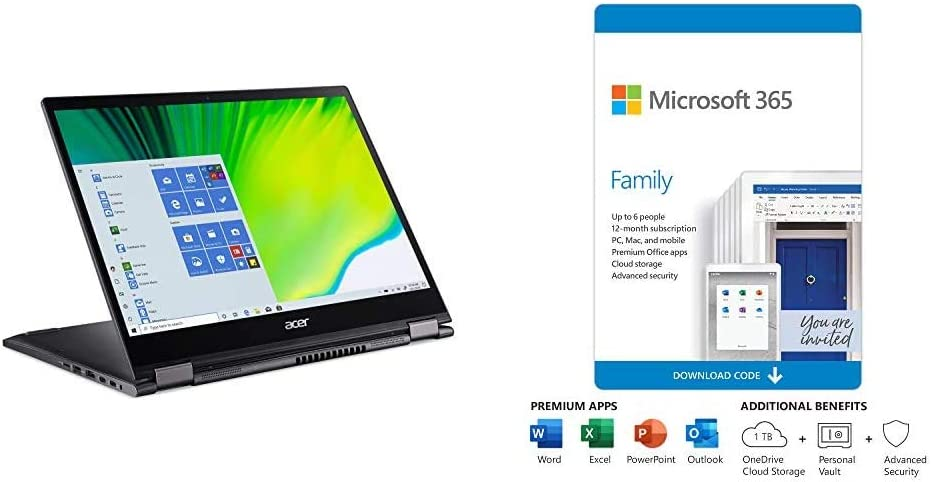 "Acer Spin 5 Convertible Laptop, 13.5"" 2K 2256 x 1504 IPS Touch, with Microsoft 365 Family 12-Month Subscription"