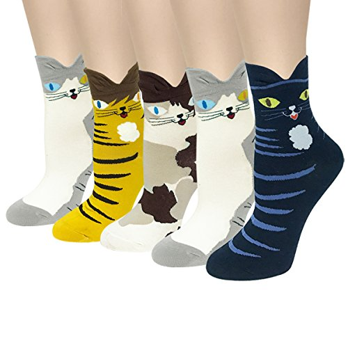 Allydrew Cotton Blend Cute Animal Socks  Set Of 5   Sweet Kitty