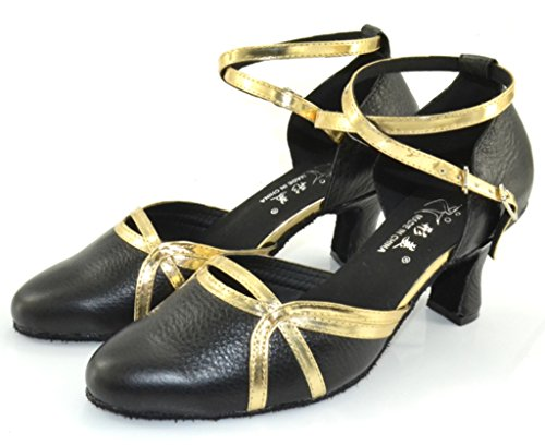 CRC Womens Stylish Closure Toe Color Block Black Leather/PU Gold Ballroom Morden Salsa Latin Tango Party Wedding Professional Dance Shoes Black/Gold AAOu51D