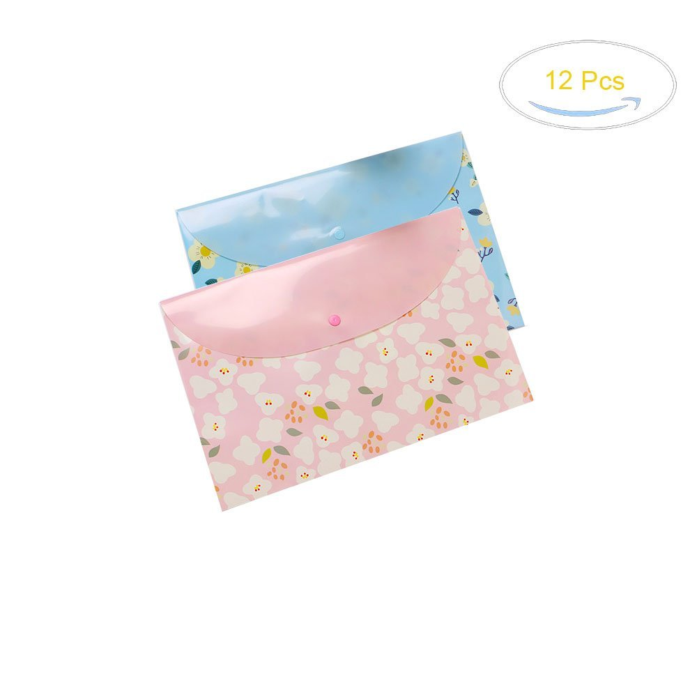 Grekywin 8 Pcs A4 Size PP Waterproof Floral Printed Document File Bags Envelope Letter Folders Paper Pockets with Snap Button Closure (Random Color)