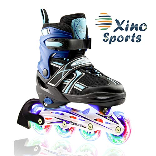 XinoSports Adjustable Children's Inline Skates for Girls & Boys with Light Up Wheels (Ages 5-20) - Roller Blades with Illuminating Wheels for Boys and Girls (Black/Aqua, Medium - 1-4)