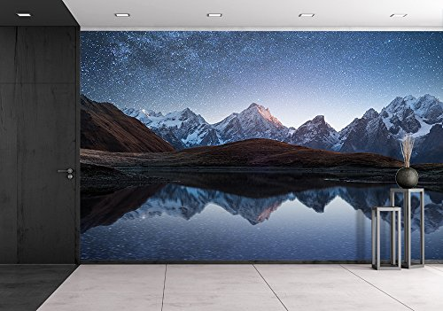 Night Sky with Stars and the Milky Way over a Mountain Lake Collage of Two Frames Art Processing Photos