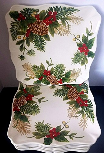 Maxcera Handcrafted Christmas Holly Berry Dinner Plate Set Of 8