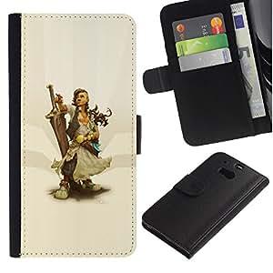 LECELL--Cuero de la tarjeta la carpeta del tirón Smartphone Slots Protección Holder For HTC One M8 -- Warrior Woman & Sword --