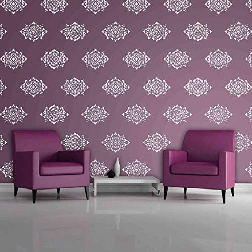 Buy Gallerist Reusable Diy Wall Stencil Painting For Home Decor Royal Glossy Wall Stencil Design For Living Room 1 Stencil Size 14x18 Inches Free 1 Drawing Stencil For Kids Online At
