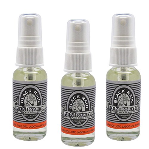 3 Pack Blunt Power 1 Ounce Glass Bottle Air Freshener Oil Based Concentrate and Oil for Burner - Black Rain