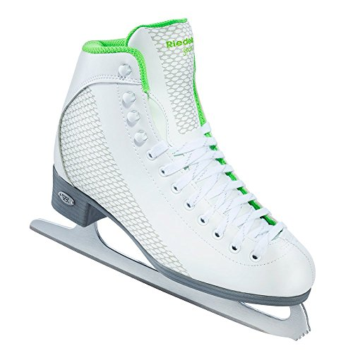 Riedell Skates - 113 Sparkle - Recreational Figure Ice Skates with Stainless Steel Spiral Blade | White and Lime | Size ()